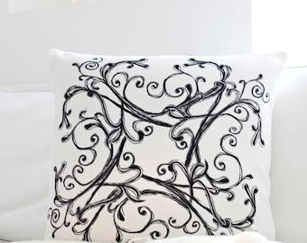 """Velvet Cushion Cover - Winter Flower  , Handmade in Ireland, 18"""""""