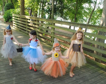 Wizard of Oz  Dorothy - Tin Man - Lion - Scarecrow Inspired tutu dress costume for baby or toddler or children Halloween Costume