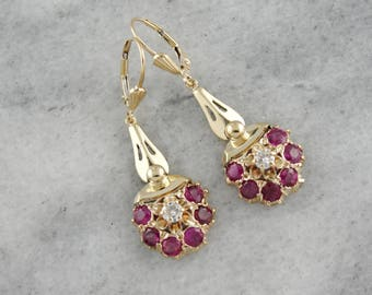 Vintage Ruby and Diamond Earrings, Ruby and Diamond Clusters, Vintage Dangle Earrings ZDJ065-N