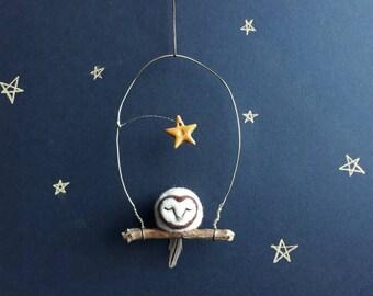 Miniature Felted Barn Owl Ornament. Tiny Felt Barn Owl. Tiny Needle Felted Owl. Little Barn Owl. Tiny Clay Stars. Small Sleeping Owl.