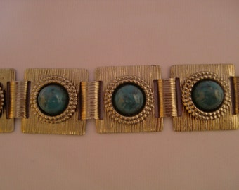 Vintage Silver Tone With Faux Turquoise - 7 3/8 Inch Long