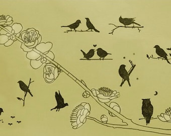 DIY  Rubber Stamp Tin Box Set - Birds - 9 Pcs