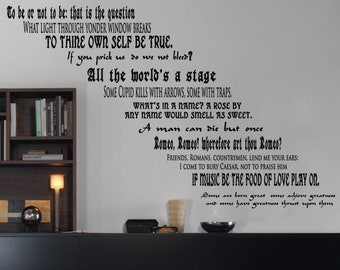 Shakespeare Literature Inspired 12 Quote Set Large Wall or Stairs Decal for Stair Risers Romeo Juliet Library Classroom Girls Party Books