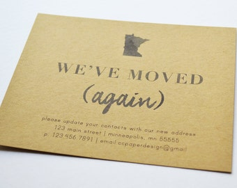 Personalized Moving Announcement, New Home Card Set, Address Change Announcement with Envelope, Personalized State Moving Announcement
