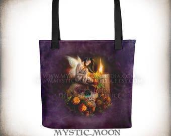 Day of the Dead Tote Bag /  los muertos / Fairy wings / Fairy Painting /  fantasy creatures / Fairy Art / fantasy art