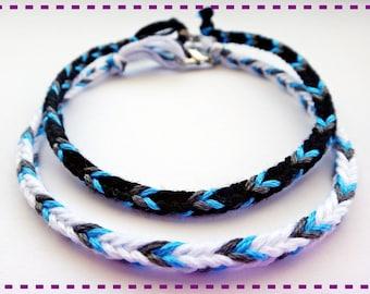 Handmade Black White Gray & Blue Friendship Bracelet Couple Bracelets Set of 2