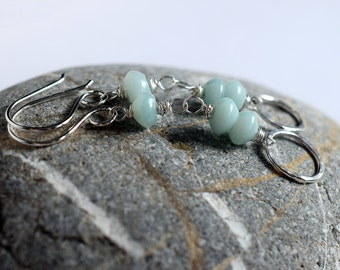 Mint Green Chalcedony Earrings, Sterling Silver Circle Earrings, Stacked Stone Earrings, Hammered Silver Circle, Soft Aqua Long Earrings