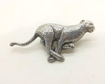 Running Leopard Design Sterling Silver 925 Brooch 3.2x3.9cm 13g