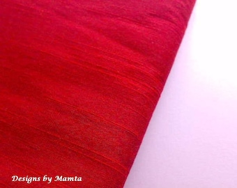 Lust Red Dupioni Art Silk Fabric By The Yard, Indian Fabric, Bridal Silk Fabric, Designer Silk Fabrics, Silk Dupioni Fabric, Indian Fabrics