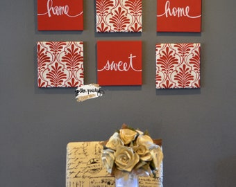 Red Home Sweet Home Wall Decor Eat Drink Be Merry Wall Art Set Canvas Wall Hanging Large Living Room Wall Art Decor Home Decor Red Kitchen