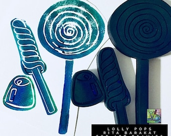 Rita Barakat Lollypops stamps, vintage candy, candy , party, invitations, stationary, gumdrops, Art Foamies
