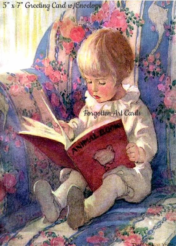 "Little Boy Reads The Animal Book, 5""x7"" Greeting Card with Envelope,  Jessie Willcox Smith, Forgotten Art Cards, Pretty Girl Postcards"