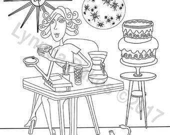 But First Coffee instant download Adult coloring page