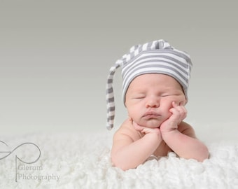 Stripe baby hat charcoal Organic knot hipster modern newborn shower gift photography prop hospital outfit accessory neutral girl boy