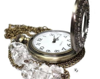 NEW! Womans watch necklace, with clear rock crystals, long necklace, boheme, womans clock, rocker, statement necklace, free shipping!