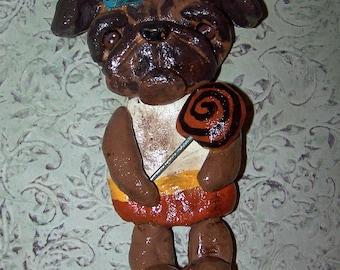 Folk Art Boutique Pug Halloween Candy Corn Ornament Ooak Art Doll 3d Sculpture