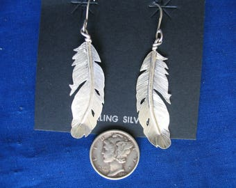 Silver eagle feather earrings ( Dropped Feather)