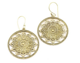 Mandala Brass Earrings, Tribal Brass Earrings, Festival Earrings, Gypsy Earrings, Ethnic Earrings, Mehndi Brass Earrings