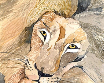 ACEO Limited Edition 2/25- Eye-catcher, Lion, Animal painting, Art print of an original watercolor painting, Cute painting for animal lovers