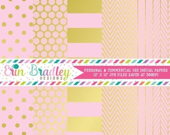 80% OFF SALE Gold Foil & Light Pink Digital Paper Pack Commercial Use Digital Scrapbook Papers Polka Dots Stripes Herringbone and Chevron
