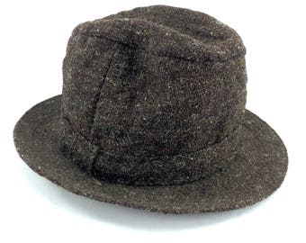 Vintage Fedora Hat Original Irish Country Hat Brown Donegal Virgin Wool Small