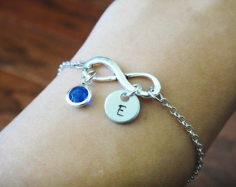 Infinity Forever Personalized Wedding Bridesmaid Gift Birthstone and Initial Bracelet