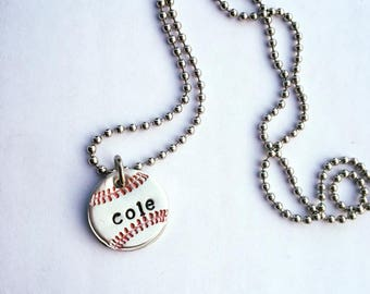 Baseball Necklace, Hand Stamped, T Ball