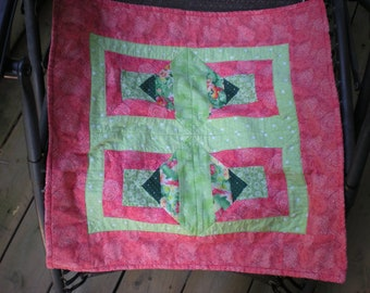 Small Baby Quilt in Greens and Orange with a Green and White Zebra Pattern Fleece Backing