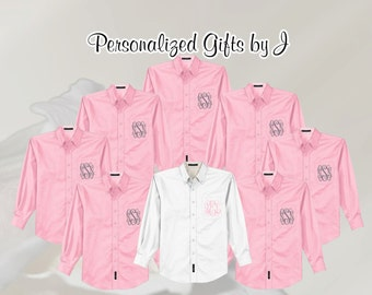 Monogrammed Oversized Button Down Shirt, Set of 2 Personalized Getting Ready Shirt, Bridesmaids Gift, Bachelorette Party,