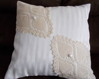 16 x 16 Inch Pillow Cover, Throw Pillow Cover, Doily Pillow Cover, Upcycled Doily Pillow Cover, Ivory & Beige Pillow Cover