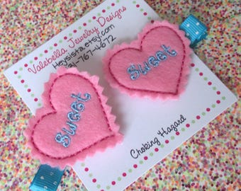 Hair clip Sweet Heart pink turquoise 1 CLIP non food Valentine girls kids child Valentines Day gift sweetheart girl baby toddler accessories