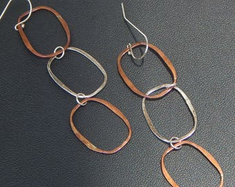 Mixed Metal Link Earrings - Copper and Sterling Silver