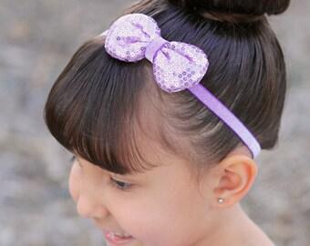 Lavender Bow Headband, Lavender Baby Bow, Sequin Bow Headband, Newborn Photo Prop, Baby Shower Gift, Teen Headband, Adult Headband, Newborn