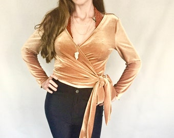 Gold Velvet Wrap Top
