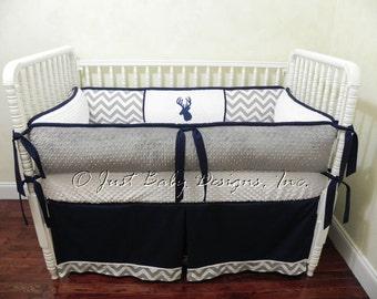Custom Crib Bedding Set Trevor -  Baby Boy Bedding, Deer Baby Bedding, Gray Chevron, Navy and White Baby Bedding with Deer Design