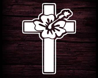 Hawaii Cross and Flower, Cross decal, Window Decal, Christian Sticker, Faith Decal, Jesus Decal, Christian Cross, Christian Hawaii, Hawaii