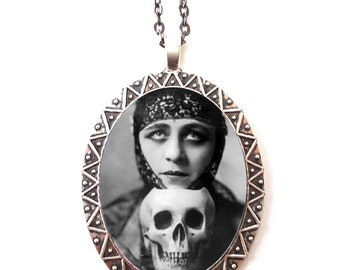 Art Deco Skull Woman Necklace Pendant Silver Tone - Goth Gothic Flapper 1920s Jazz Age Vamp