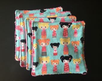 Washcloths/Cloth Wipes - Dolls and Pink Terrycloth