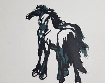 Vinatge Chinese Paper Cut of Horses