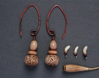 natural drop earrings with exotic mahogany pod beads - natural rustic jewelry - oxidized copper - nature gift