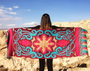Cashmere Scarf,%100 Handmade with machine.Cashmere scarf women,wool scarf,Bordeaux coloured Hand Embroidered Cashmere Shawl , Free Shipping