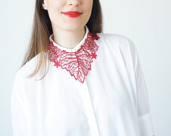 For Her Women Gift For Girlfriend For Best Friend Bib Necklace Statement Necklace Lace Necklace Red Necklace/ TORSA