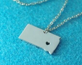 South Dakota Pendant,I heart South Dakota Necklace,Custom South Dakota Necklace, State Map Jewelry, Personalized Silver Pendant ,Map Jewelry