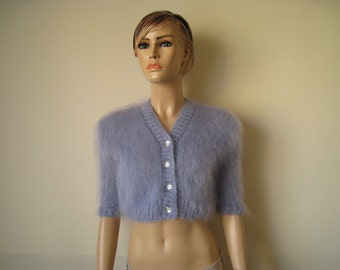 Made to order ! Hand knitted Blue mohair bolero, shrug, cardigan S M L