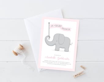 Elephant Baby Shower Invitation . Pink and Grey . Girl Baby Shower Invitation . Baby Sprinkle Invitation . Printable Digital Download
