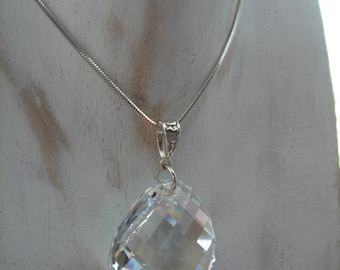 Long silver necklace, pendant Swarovski element, Sterling Silver