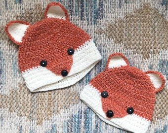 Orange Fox Hat, Crochet Fox Hat, Baby Hat, Baby Gift, Halloween Costume, Fox Costume, Mom and Baby Fox Hat