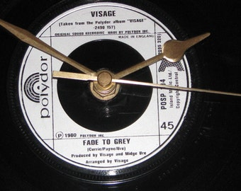 """Visage fade to grey 7"""" vinyl record clock"""