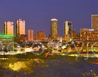 CANVAS Fort Worth Skyline Skyline Panoramic Photo Print Cityscape Ft Worth Texas