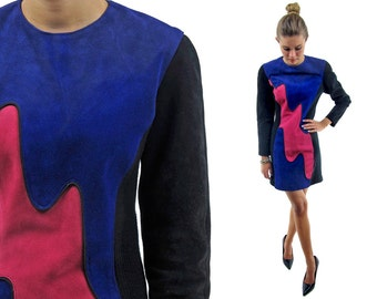80s Abstract Leather Suede Mini Dress ΔΔ Vintage 80s Suede Body Con Dress ΔΔ md